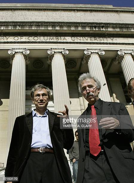 Turkish writer Orhan Pamuk and Professor Nick Dirks leave the Lowe Library after meeting with the press at Columbia Univeristy 12 October 2006 after...