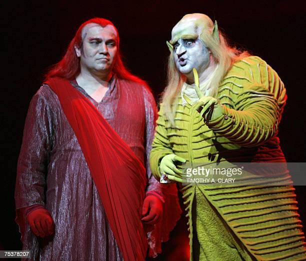 Vasily Gorshkov as Loge and Nikolai Putilin as Alberich during a dress rehersal for Das Rheingold one of Richard Wagner's fouropera masterpiece's Der...