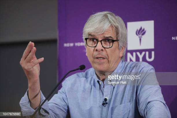 New York University professor Paul Romer speaks at a news conference after being named a winner of the 2018 Nobel Memorial Prize in Economics with...