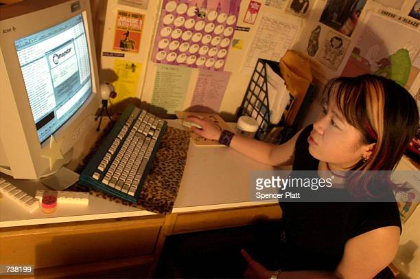 New York University student Jennifer Huang downloads music from the Napster site March 6 2001 in New York City Data released March 25 2002 by the...