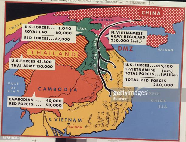 New York: UPI map of the countries of Indochina, comparing the armed forces in the area.