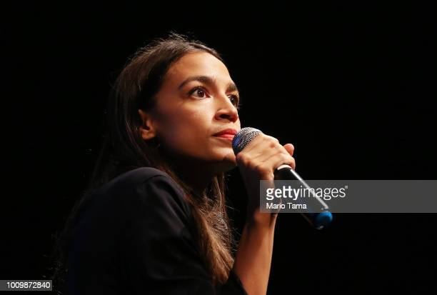New York US House candidate Alexandria OcasioCortez speaks at a progressive fundraiser on August 2 2018 in Los Angeles California The rising...