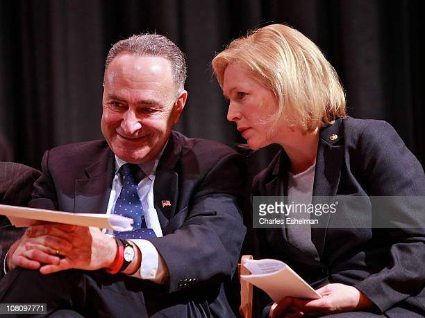 New York US Senators Chuck Schumer and Kristen Gillibrand attend the NYC Service Mentor It Forward Program breakfast reception in honor of Martin...