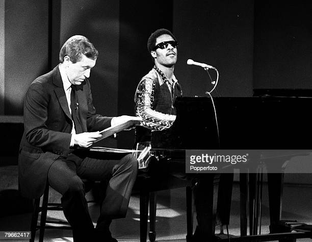 New York USA 20th August 1970 British television personality David Frost is pictured with American soul singer Stevie Wonder as they tape a TV show