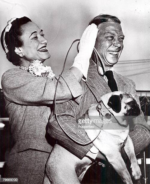 New York USA 24th May The Duke and Duchess of Windsor pictured with their dog Trooper as they sail on the liner United States for France