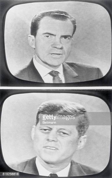 VicePresident Richard Nixon and Sen John F Kennedy are shown as they appeared on TV screens during their TV debate The two candidates clashed headon...