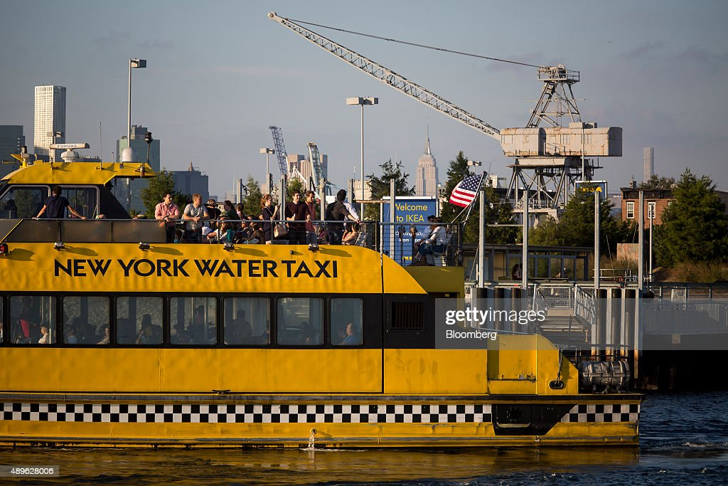 A New York Water Taxi picks up customers from an Ikea store in the Brooklyn borough of New York, U.S., on Saturday, Sept. 19, 2015. The U.S. Census Bureau is scheduled to release monthly durable goods data on Sept. 24. Photographer: Michael Nagle/Bloomberg via Getty Images