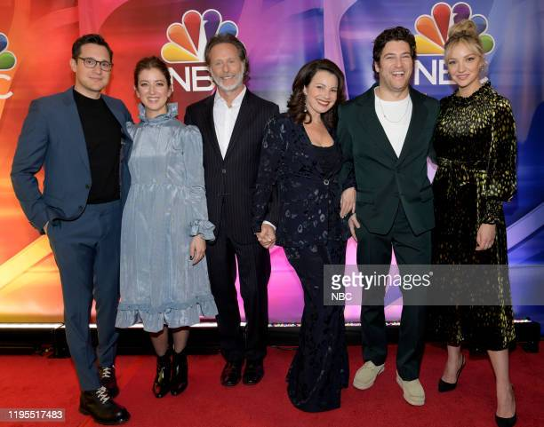 New York Winter Press Junket -- Pictured: Dan Levy, Creator and Executive Producer, Jessy Hodges, Steven Weber, Fran Drescher, Adam Pally, Abby...