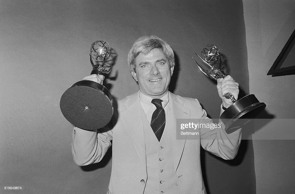 Phil Donahue with Trophies at Academy Awards Ceremony : News Photo