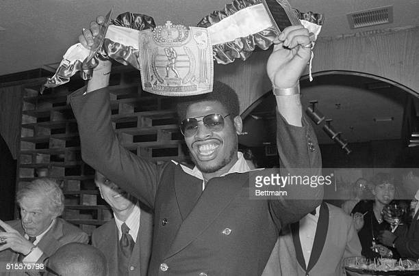 World Heavyweight Champion Leon Spinks holds Championship belt after presentation ceremony Apr 4th The Champ who took the title from Muhammad Ali...