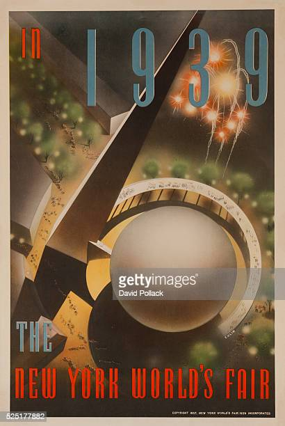 New York World's Fair poster showing aerial view of Trylon and Perisphere with fireworks