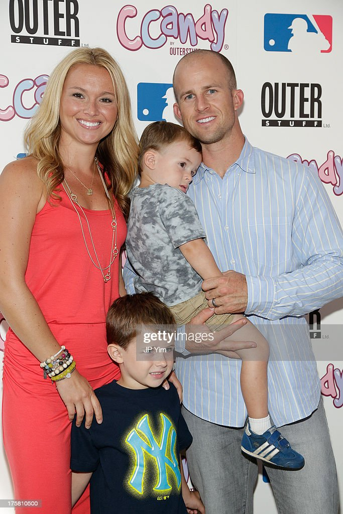 New York Yankee Brett Gardner, his wife Jessica and sons attend the CCandy Children's Clothing Line Launch at MLB Fan Cave on August 8, 2013 in New York City.