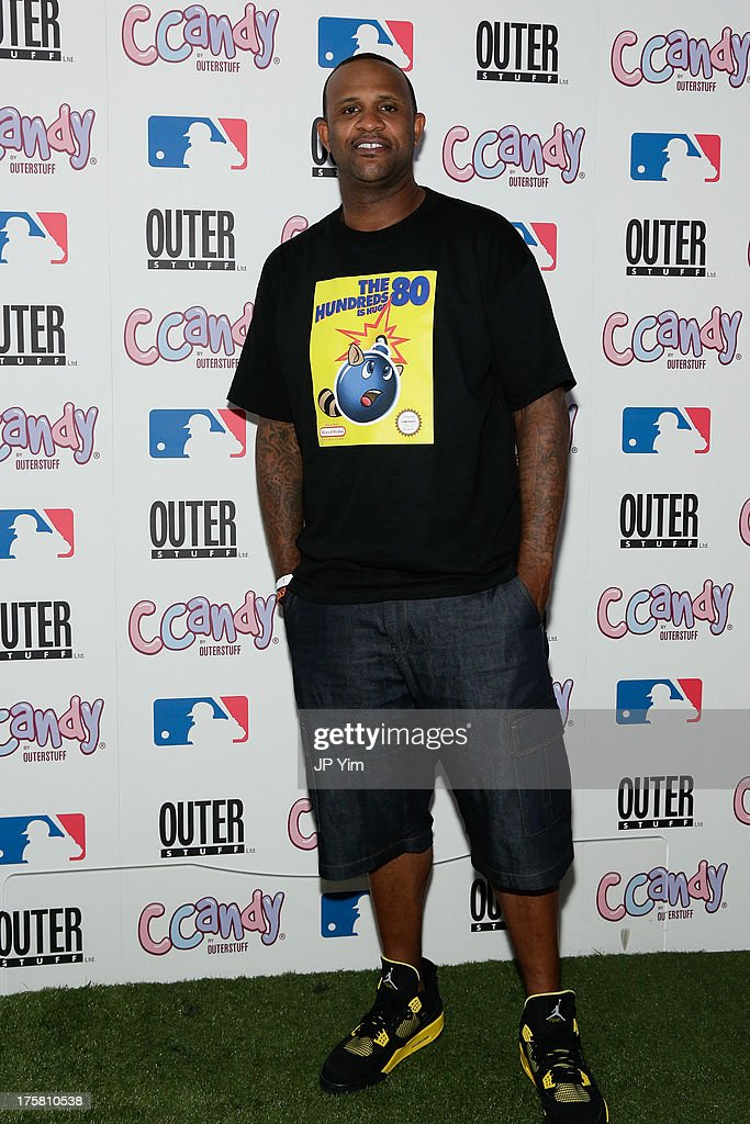 New York Yankee CC Sabathia attend the CCandy Children's Clothing Line Launch at MLB Fan Cave on August 8, 2013 in New York City.