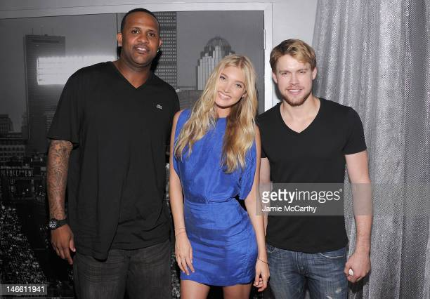 New York Yankee CC Sabathia Elsa Hosk and Chord Overstreet attend celebration to kick off the Subway Series hosted by Victoria's Secret PINK and...