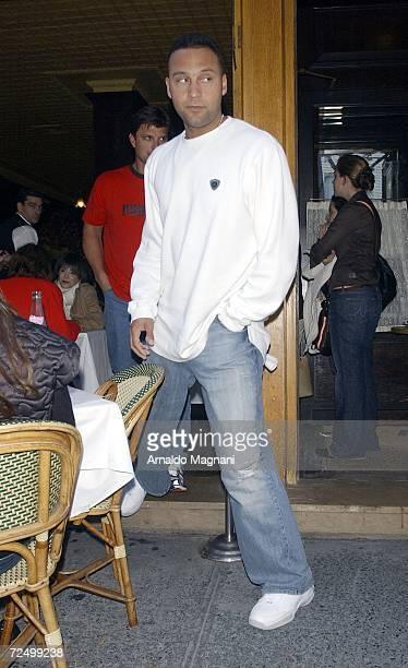New York Yankee Derek Jeter leaves La Goulue restaurant November 10 2006 in New York City