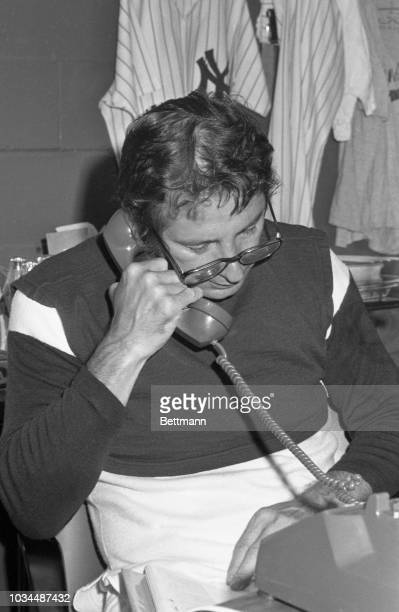 New York Yankee manager, Billy Martin, on the phone in his office before a two game series with the Boston Red Sox at Yankee Stadium. Martin was...