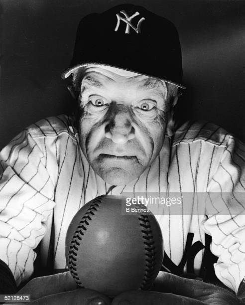 New York Yankee manager Casey Stengel gazes into his 'crystal' ball to see what's in store for the team in 1949 New York New York February 17 1949...