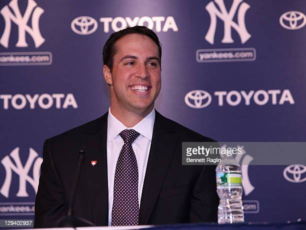 New York Yankee Mark Teixeira attends a press conference to launch New York Yankees' Mark Teixeira's 'Dream Team' campaign to raise funds for Harlem...