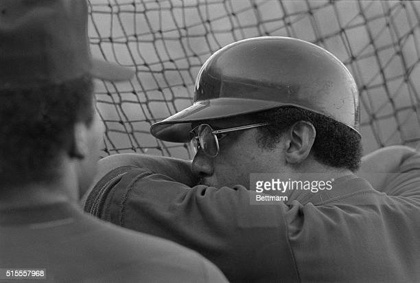 New York Yankee Reggie Jackson is deep in concentration here before the start of the 2nd game in the American League championship series against he...