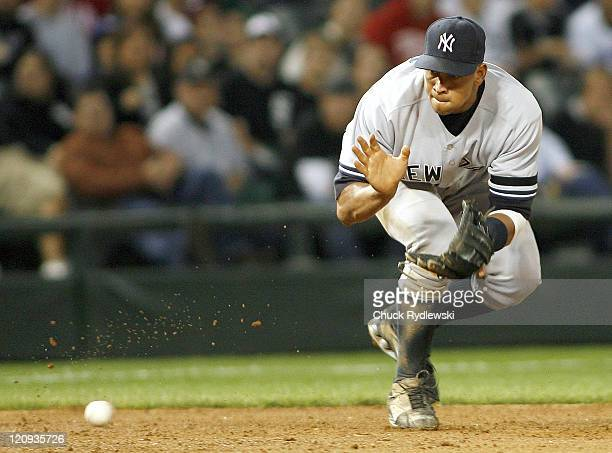 New York Yankees' 3rd Baseman, Alex Rodriguez fields a ground ball during their game versus the Chicago White Sox June 6, 2007 at U.S. Cellular Field...