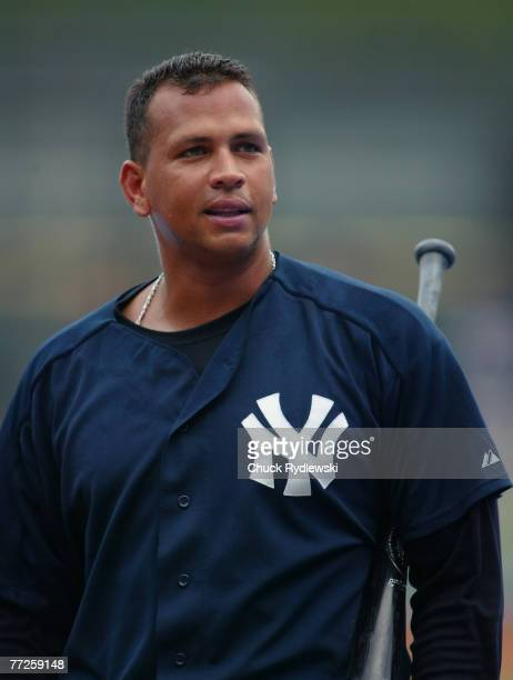 New York Yankees' 3rd Baseman Alex Rodriguez reacts to the fans during batting practice prior to the game against the Chicago White Sox August 9 2006...