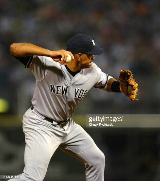 New York Yankees' 3rd baseman, Alex Rodriguez, readies a throw during the game against the Chicago White Sox August 19, 2005 at U.S. Cellular Field...