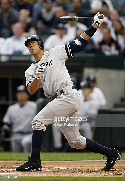 New York Yankees' 3rd Baseman Alex Rodriguez watches his long drive go foul during their game versus Chicago White Sox June 4 2007 at US Cellular...