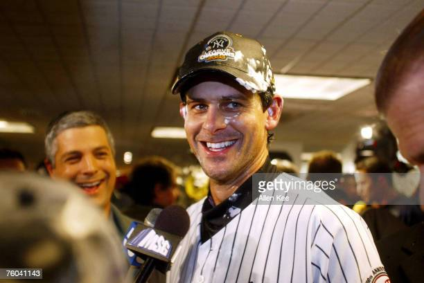 New York Yankees Aaron Boone celebrates the Yankees victory against the Boston Red Sox at Yankee Stadium in New York City New York The Yankees...