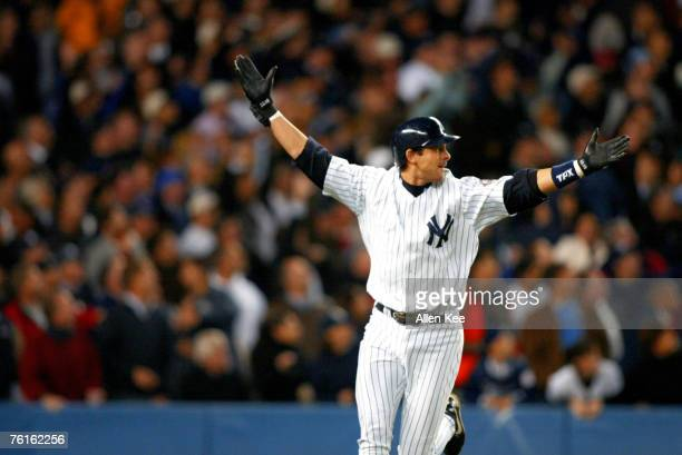 New York Yankees Aaron Boone celebrating his game winning home run against the Boston Red Sox at Yankee Stadium in New York City New York The Yankees...