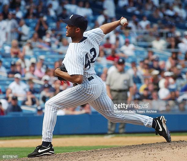 New York Yankees' ace reliever Mariano Rivera just off the disabled list shows good form in a ninthinning outing against the Kansas City Royals at...