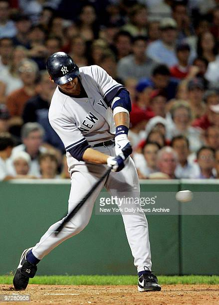 New York Yankees' Alex Rodriguez connects for a gamewinning tworun homer to center field in the ninth inning of game against the Boston Red Sox at...