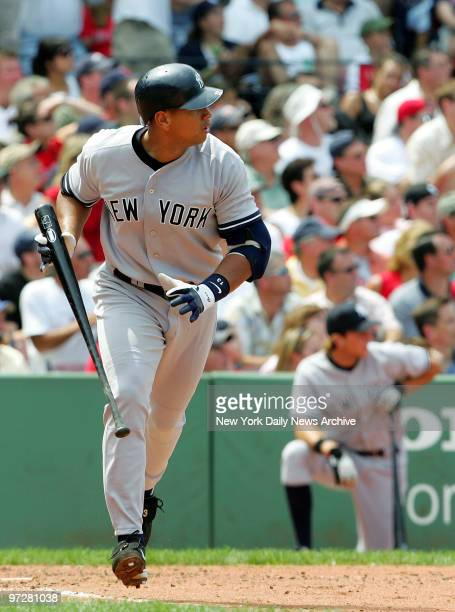 New York Yankees' Alex Rodriguez dashes to first after hitting a tworun homer to left field in the third inning of game against the Boston Red Sox at...