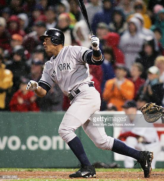 New York Yankees' Alex Rodriguez hits a solo homer to right center for the goahead run with two strikes and two outs in the top of the ninth inning...