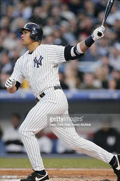 New York Yankees' Alex Rodriguez hits a threerun homer in the first inning of game against the Los Angeles Angels at Yankee Stadium ARod went 4for5...