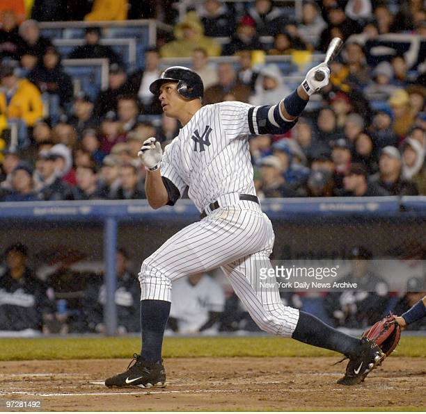 New York Yankees' Alex Rodriguez hits a tworun homer to left in the second inning of a game against the Cleveland Indians at Yankee Stadium The Yanks...