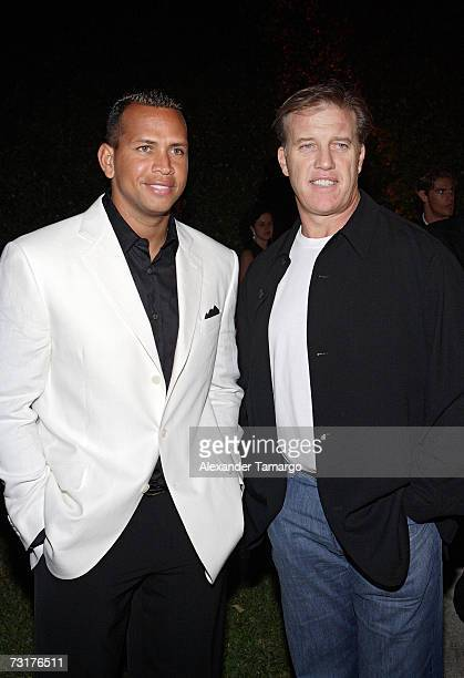 New York Yankees baseball player Alex Rodriguez and former Denver Broncos quarterback John Elway arrive at the private dinner party to benefit Bay...