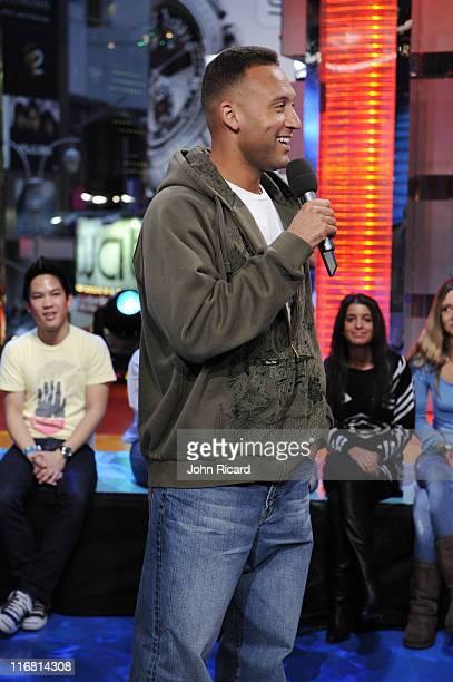 "New York Yankees captain Derek Jeter appears on ""TRL"" at MTV Studios, Times Square January 15, 2008 in New York City."