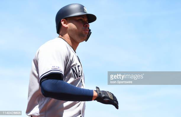 New York Yankees catcher Gary Sanchez after hitting a grand slam during the Major League Baseball game between the New York Yankees and the San...