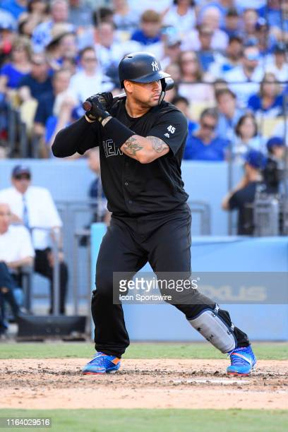 New York Yankees catcher Gary Sanchez at bat during a MLB game between the New York Yankees and the Los Angeles Dodgers on August 25, 2019 at Dodger...