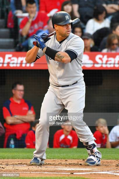 New York Yankees catcher Gary Sanchez at bat during a MLB game between the New York Yankees and the Los Angeles Angels of Anaheim on April 28 2018 at...