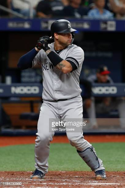 New York Yankees catcher Gary Sanchez at bat during the MLB game between the New York Yankees and Tampa Bay Rays on July 06, 2019 at Tropicana Field...