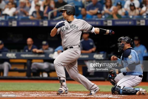 New York Yankees catcher Gary Sanchez at bat during the regular season MLB game between the New York Yankees and Tampa Bay Rays on June 24, 2018 at...