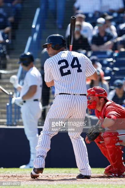 New York Yankees catcher Gary Sanchez at bat during the Spring Training game between the Philadelphia Phillies and New York Yankees on February 24 at...