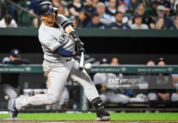 New York Yankees catcher Gary Sanchez at bat in the eighth inning during the game between the New York Yankees and the Baltimore Orioles on May 22 at...