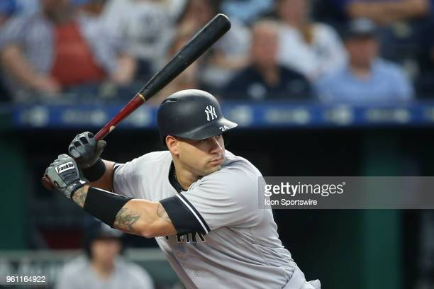 New York Yankees catcher Gary Sanchez bats in the first inning of an MLB game between the New York Yankees and Kansas City Royals on May 19, 2018 at...