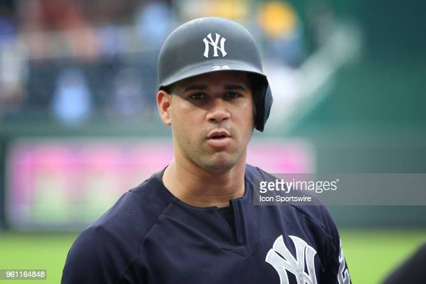 New York Yankees catcher Gary Sanchez before an MLB game between the New York Yankees and Kansas City Royals on May 19, 2018 at Kauffman Stadium in...