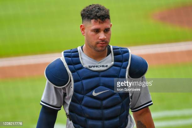 New York Yankees catcher Gary Sanchez comes off the field during the MLB game between the New York Yankees and the Atlanta Braves on August 26th,...