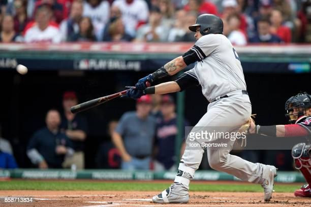 New York Yankees catcher Gary Sanchez hits a 2-run home run to center during the first inning of the 2017 American League Divisional Series Game 2...