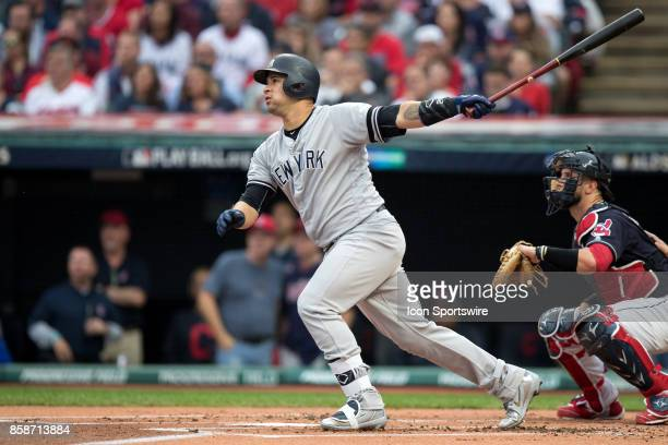 New York Yankees catcher Gary Sanchez hits a 2run home run to center during the first inning of the 2017 American League Divisional Series Game 2...