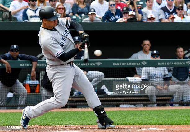 New York Yankees catcher Gary Sanchez hits a home run during the game between the New York Yankees and the Baltimore Orioles on April 7 at Orioles...